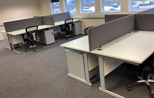 White desking and matching chairs